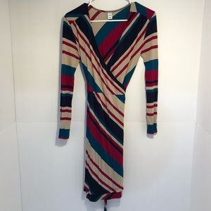 Striped old navy wrap dress long sleeve